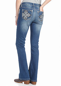 New Directions Weekend Embroidered Cross Bootcut Jeans