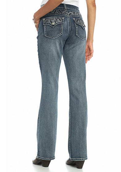 New Directions® Weekend Embroidered Yoke and Pocket Bootcut Jeans