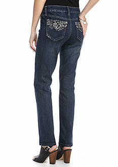 New Directions Weekend Vintage Bling Straight Leg Jeans