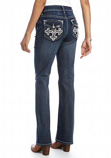 New Directions® Weekend Colored Embroidered Bling Cross Bootcut Jeans