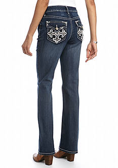 New Directions Weekend Colored Embroidered Bling Cross Bootcut Jeans