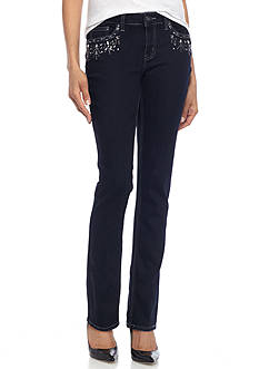 New Directions® Weekend Denim Beaded Front Jean