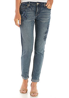 New Directions® Weekend Floral Embroidered Cropped Jean