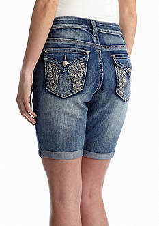 New Directions® Weekend Wing Embellished Pocket Shorts