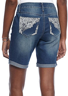 New Directions Weekend Bling Embroidered Lace Pocket Denim Shorts