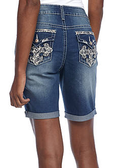 New Directions Weekend Bling Embroidered Cross Denim Short