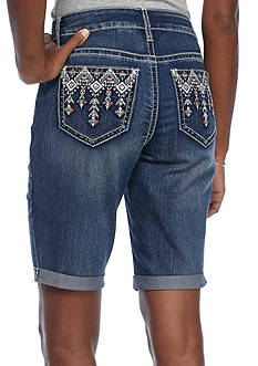 New Directions Weekend Tribal Embroidered Color Stitch Pocket Denim Short