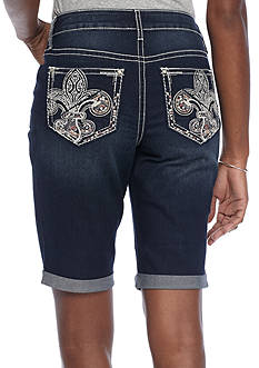 New Directions Weekend Fleur De Lis Embroidered Color Stitch Pocket Denim Short