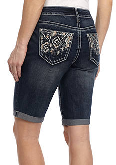 New Directions® Weekend Aztec Stitch Jeweled Roll Cuff Bermuda Shorts