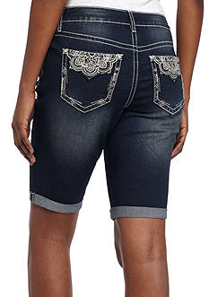 New Directions Weekend Lace Pocket Roll Cuff Bermuda Short