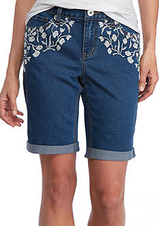 New Directions Weekend Embroidered Denim Shorts