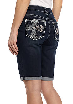 New Directions Weekend Color Cross Stitch Roll Cuff Bermuda Short