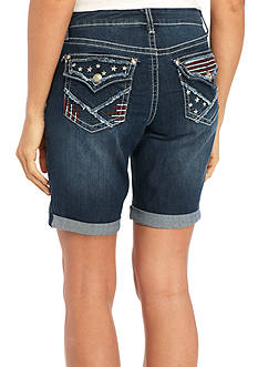 New Directions Weekend Americana Stars and Stripes Flap Pocket Denim Bermuda Shorts