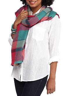 Red Camel Neon Colored Plaid Oblong Scarf with Fringe