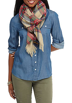 Red Camel Plaid Blanket Fringe Scarf