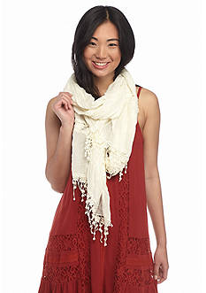 Red Camel Crochet Inset Pom Trim Scarf