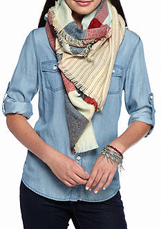 Red Camel Multi Buffalo Check Plaid Oblong Fringe Scarf