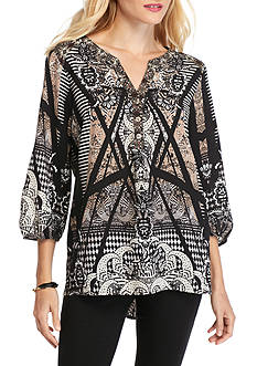 New Directions Mixed Print Button Placket Blouse