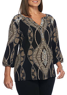 New Directions® Plus Size Anoushka Mixed Print Top