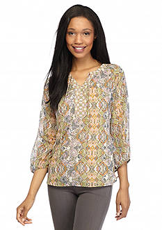 New Directions Lace Twin Print Tie Neck Peasant Blouse