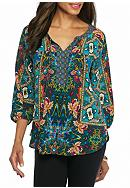 New Directions® Mixed Printed Tie Front Blouse