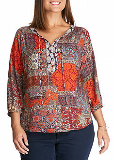New Directions Three-Quarter Sleeve Asia Theme Patch Print Tunic