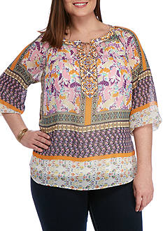 New Directions Plus Size Mix Asia Printed Blouse