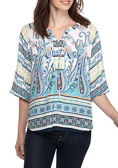 New Directions Printed Tie Neck Chiffon Blouse
