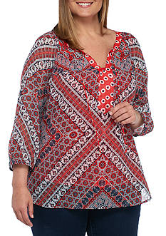 New Directions Plus Size Floral Printed Blouse