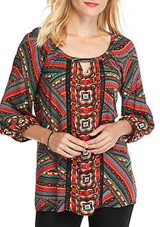 New Directions Tribal Print Keyhole Blouse