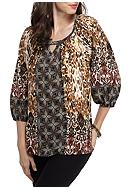 New Directions® Printed Peasant Top