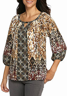 New Directions® Animal Print Embellished Blouse