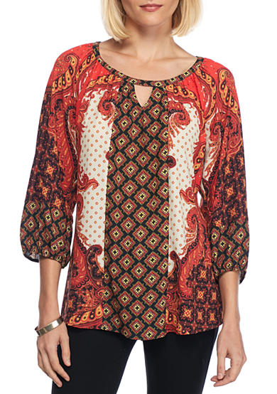 New Directions® Paisley Twin Print Blouse