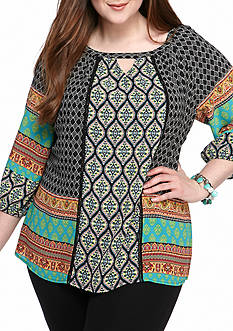 New Directions Plus Size Peasant Top