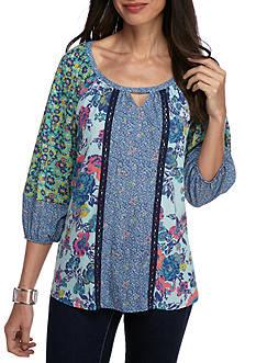 New Directions Floral Twin Print Crochet Trim Blouse