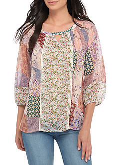 New Directions® Floral Printed Keyhole Chiffon Blouse