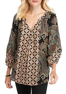 New Directions Paisley Medallion Blouse