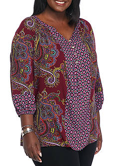 New Directions Plus Size Clara Printed Paisley Top
