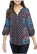 New Directions® Twin Print Henley Blouse