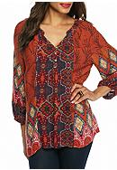 New Directions® Mixed Printed High Low Blouse