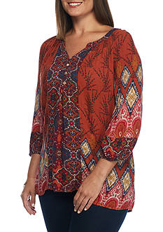 New Directions Plus Size Clara Button Front Blouse