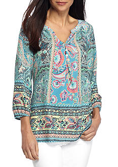 New Directions Petite Size Clara Mixed Print Blouse