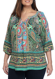 New Directions® Plus Size Clara Border Print Blouse
