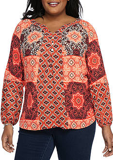 New Directions® Plus Size Clara Mixed Print Top