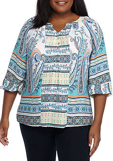 New Directions Plus Size Three-Quarter Sleeve Printed Blouse