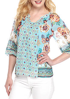 New Directions® Petite Floral Border Printed Blouse