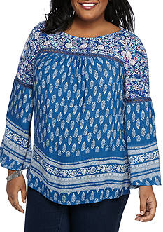 New Directions® Plus Size  Baby Doll Bell Sleeve Top