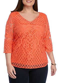 New Directions Plus Size Faye Lace Blouse