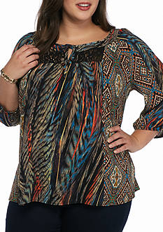 New Directions Plus Size Lace Trim Printed Tunic