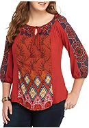 New Directions® Plus Size Mixed Print Peasant